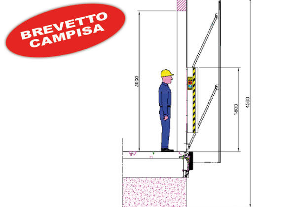 anti crashing dissuader for loading docks technical drawing