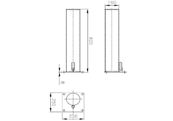 protection bollards for sectional doors technical drawing